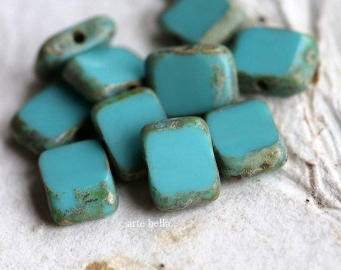 TURQUOISE RECTANGLES .. New 10 Premium Picasso Czech Glass Rectangle Beads 11x9mm (7234-10)