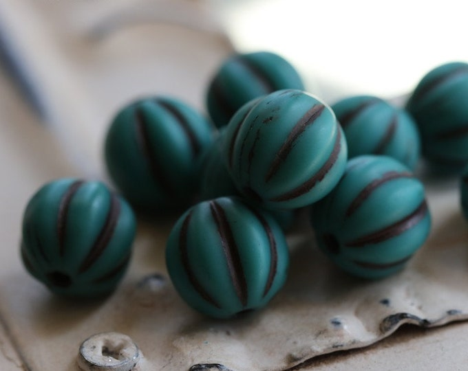BROWN TEAL MELONS 8mm .. 10 Premium Picasso Czech Glass Melon Beads (7173-10)