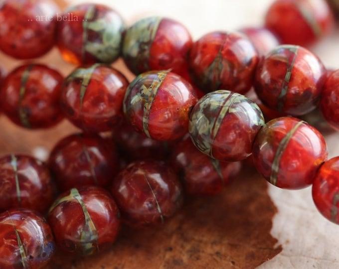 KOI MARBLES 6mm .. 25 Premium Picasso Czech Druk Glass Beads (6628-st)