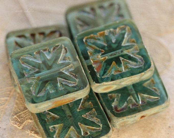 sale .. STARLIGHT BLUES .. 6 Premium Picasso Square Czech Glass Beads 15mm (4342-6)