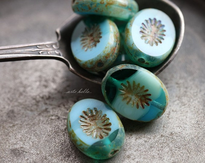 OCEANIC STARS .. 6 Picasso Czech Oval Kiwi Glass Beads 14x10mm (5612-6)