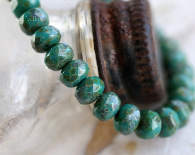 TEAL BABIES No. 2 .. 30 Premium Picasso Czech Glass Rondelle Beads 3x5mm (7497-st)