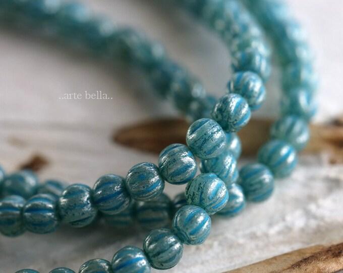 BLUE MINI MELONS .. 50 Premium Czech Glass Melon Beads 3mm (6218-st)