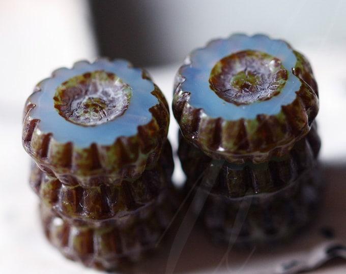 sale .. BLUE LILAC MARGUERITE .. 6 Premium Picasso Glass Czech Flower Beads 12mm (2908-6)