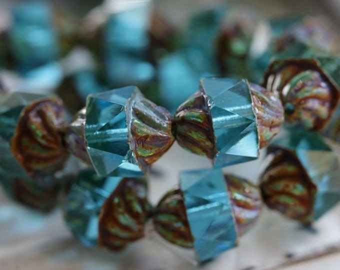 TWISTED BEACH No. 2 .. 10 Picasso Czech Glass Spiral Beads 10x12mm (5114-10)