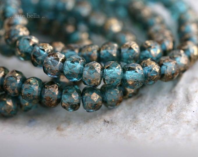 GOLDEN BLUE MIX .. 30 Picasso Czech Rondelle Glass Beads 3x5mm (6180-st)