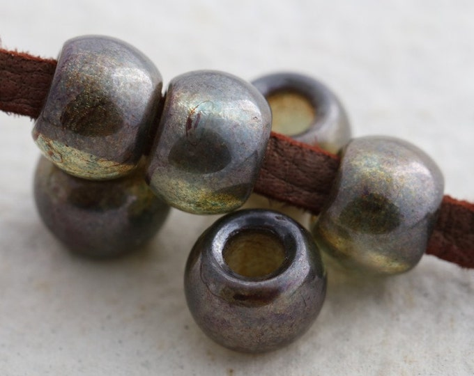 PINE ROLLERS .. 6 Premium Picasso Luster Czech Glass Large Hole Roller Beads 9x12mm (5594-6)