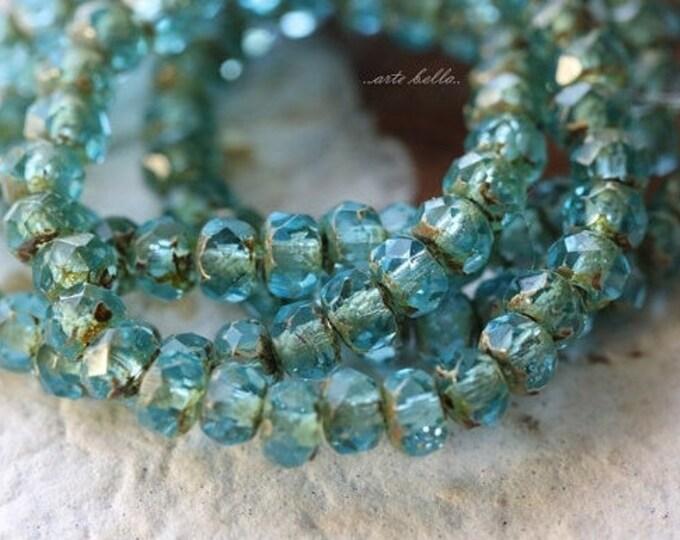 last ones .. RIVER BABIES No. 2 .. 30 Premium Picasso Glass Czech Rondelle Beads 3x5mm (4822-st)