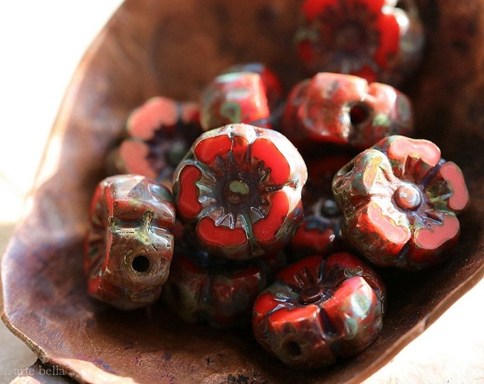 EARTHY SCARLET PANSY 7mm .. New 10 Premium Picasso Czech Glass Hibiscus Flower Beads (8524-10)