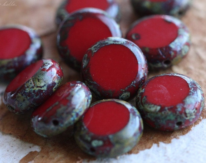 SLICED REDS .. 10 Picasso Czech Glass Coin Beads 10mm (4572-10)
