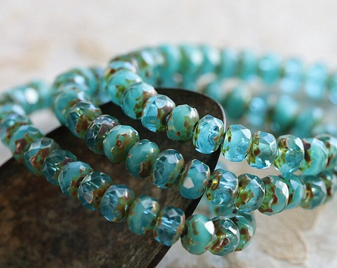EARTHY BEACH WAVES .. New 30 Premium Picasso Czech Glass Faceted Rondelle Beads 3x5mm (8632-st)