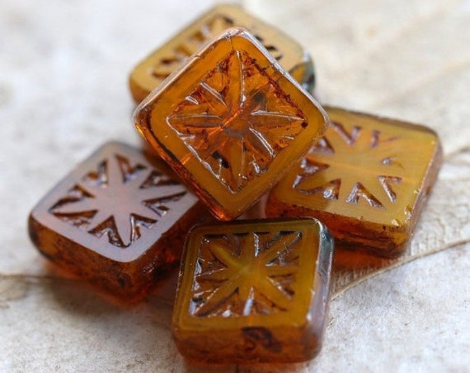 sale .. MARMALADE SQUARES .. 6 Premium Picasso Czech Square Glass Beads 10mm (4863-6)