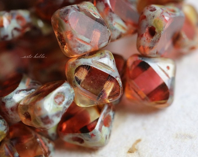 SANGRIA SQUARES .. 25 Picasso Glass Silky Tile Square Beads 6mm (5608-st)