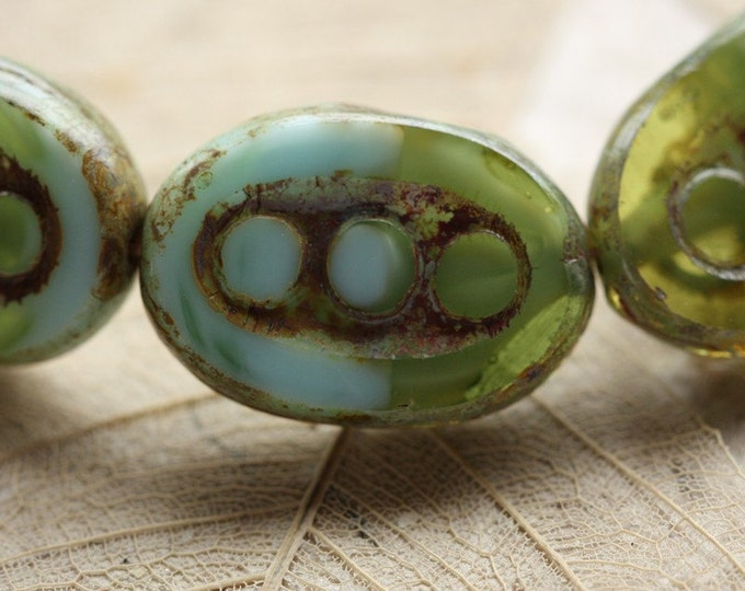 sale .. DOTTED SPRING .. 4 Premium Picasso Czech Glass Beads 18x12mm (4387-4)