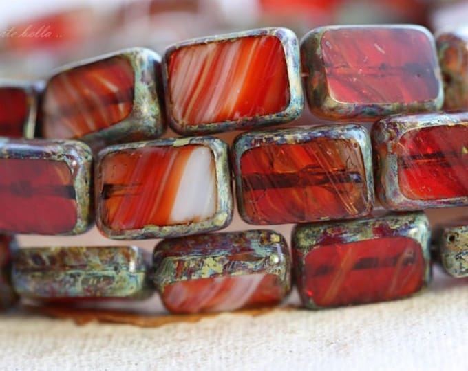 MOLTEN .. 10 Picasso Czech Glass Rectangle Beads 12x8.5mm (B1038-10)