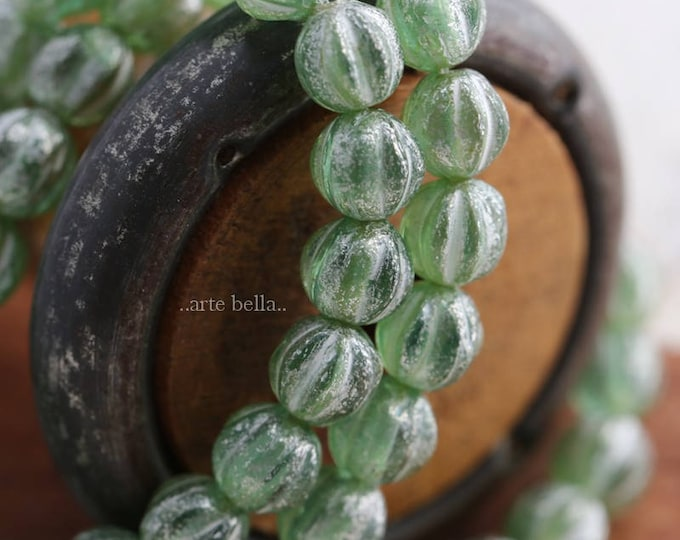 SILVERED APPLE MELONS No. 2 .. 25 Picasso Czech Glass Melon Beads 6mm (6014-st)