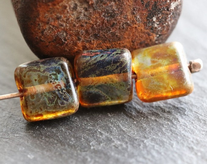AMBER TOFFEE SQUARES .. 20 Premium Picasso Czech Glass Square Beads 8mm (8246-20)