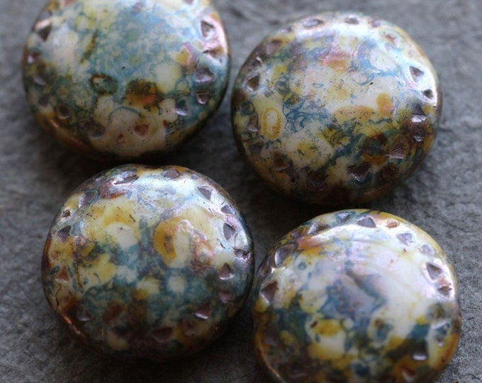 BLUEBERRY CREAM PUFFS .. New 4 Premium Picasso Czech Glass Chunky Coin Beads 16mm (7279-4)