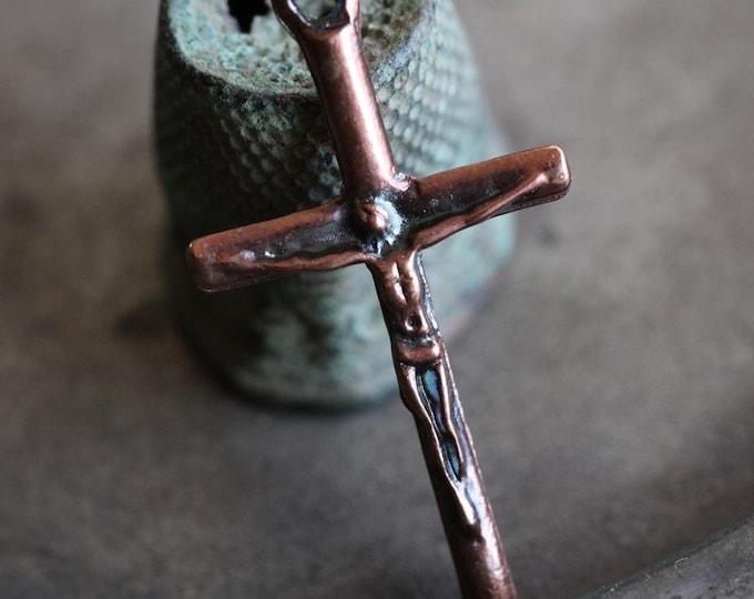 BRONZE CRUCIFIX .. 2 Mykonos Greek Crucifix Castings 32x16mm (M209-2)