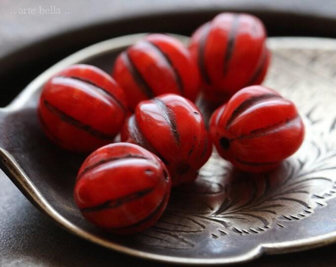 LAVA MELONS 10mm .. 6 Premium Picasso Czech Glass Melon Beads (7187-6)