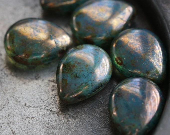 sale .. OCEANIC PEARS .. 6 Premium Picasso Czech Teardrop Beads 16x12mm (3368-6)