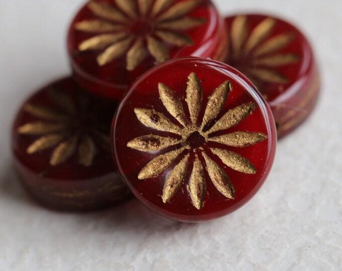 BRONZED CHERRY ASTER .. 4 Premium Picasso Czech Glass Flower Coin Beads 12mm (7837-4)