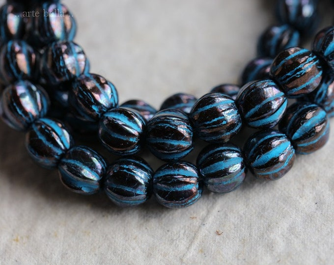 BLUE BRONZE MELONS No. 1 .. 25 Premium Picasso Large Hole Czech Glass Melon Beads 6mm (7091-st)