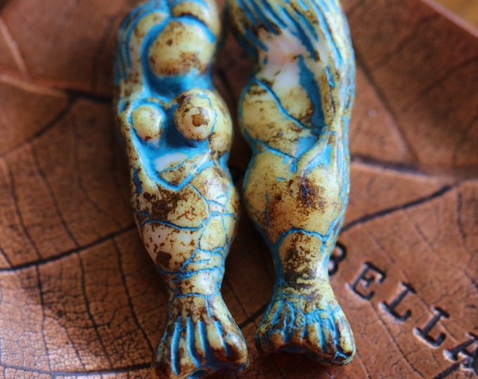 TOASTED BLUE MERMAID .. New 2 Premium Picasso Czech Glass Mermaid Beads 5x25mm (7854-2)