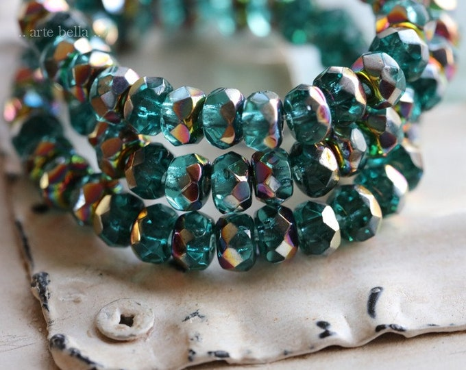 MYSTIC TEAL BABIES .. 30 Premium Czech Glass Faceted Rondelle Beads 3x5mm (7920-st)