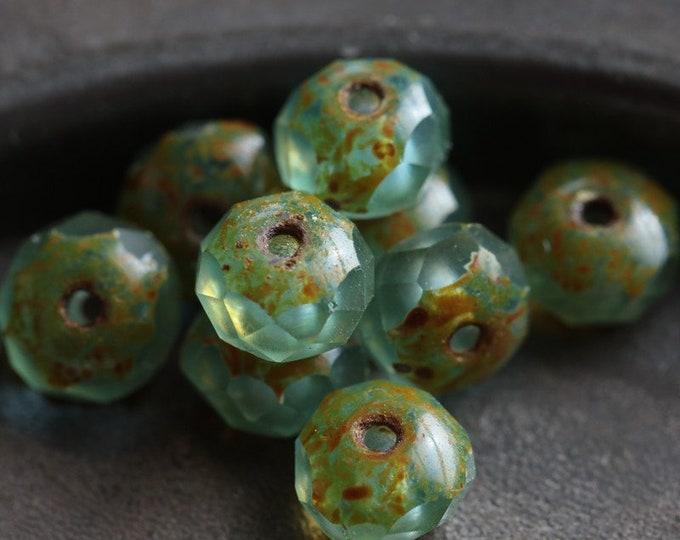RIVER PEBBLES No. 3 .. 10 Premium Picasso Matte Czech Glass Rondelle Beads 4x6mm -  5x7mm (7036-10)