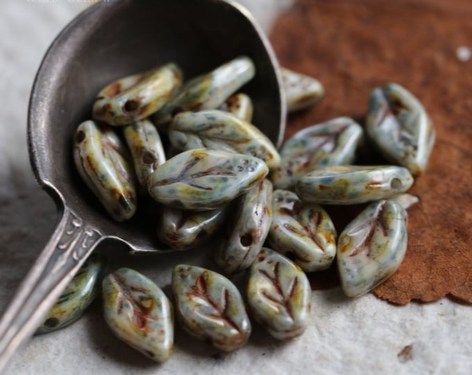 WILLOW LEAVES .. NEW 20 Premium Picasso Czech Glass Leaf Beads 10x6mm (7012-20)