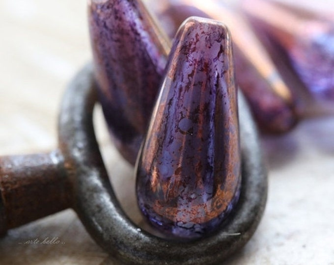 PURPLE CHUBETTES .. 4 Premium Picasso Czech Glass Teardrop Beads 20x10mm (5256-4)