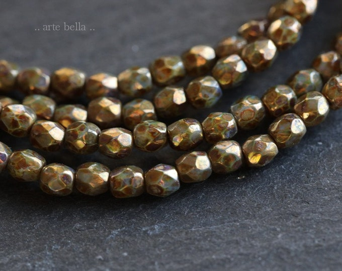 GILDED PLUMS 3mm .. 50 Premium Picasso Faceted Czech Glass Beads 3mm (6588-st)
