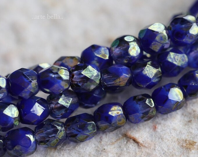 GILDED INDIGO .. 50 Premium Picasso Czech Faceted Glass Beads 4mm (6938-st)