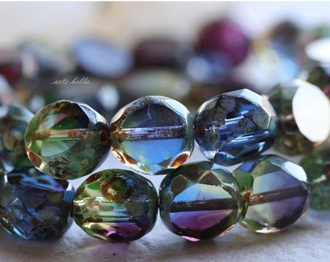 ROYALTY SLABS .. 6 Premium Picasso Czech Table Cut Faceted Glass Beads 12mm (4951-6)