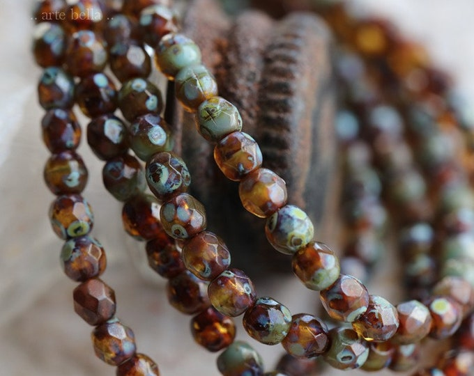 TORTOISE PICASSO BITS .. 50 Premium Picasso Faceted Czech Glass Beads 3mm (6383-st)