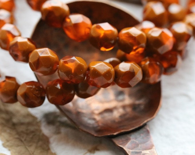 ROASTED ORANGE PEBBLES .. New 25 Premium Czech Faceted Round Glass Beads 6mm (8400-st)
