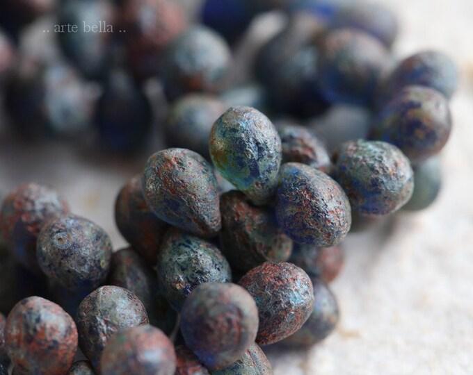 EARTHY SAPPHIRE DRIPS No. 1 .. 50 Premium Picasso Czech Drop Beads 5x7mm (6509-st)