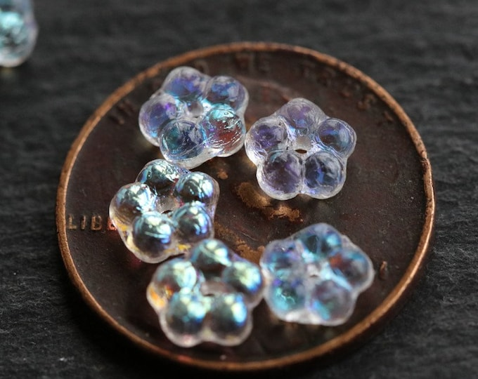 FAIRY VINCA .. 20 Premium Czech Glass Flower Spacer Beads 5mm (6320-20)