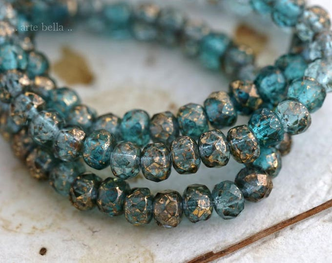 GILDED AQUA MIX .. 30 Picasso Czech Glass Rondelle Beads 3x5mm (6175-st)