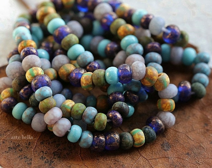 """MAJESTIC SEED MIX No. 8720 .. New 20"""" Premium Etched Picasso Czech Glass Aged Stripe Bead Mix Size 6/0 (8720-st)"""