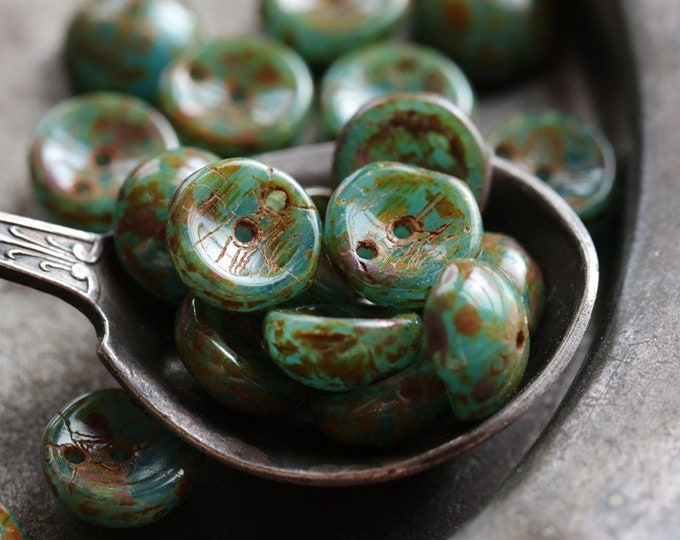 TEAL BEACH PIGGY .. New 20 Premium Picasso Czech Glass Piggy Beads 8x4mm (6964-20)