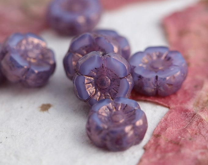 BRONZE LILAC SILK Pansy 7mm .. New 10 Premium Picasso Czech Glass Hibiscus Flower Beads (7953-10)