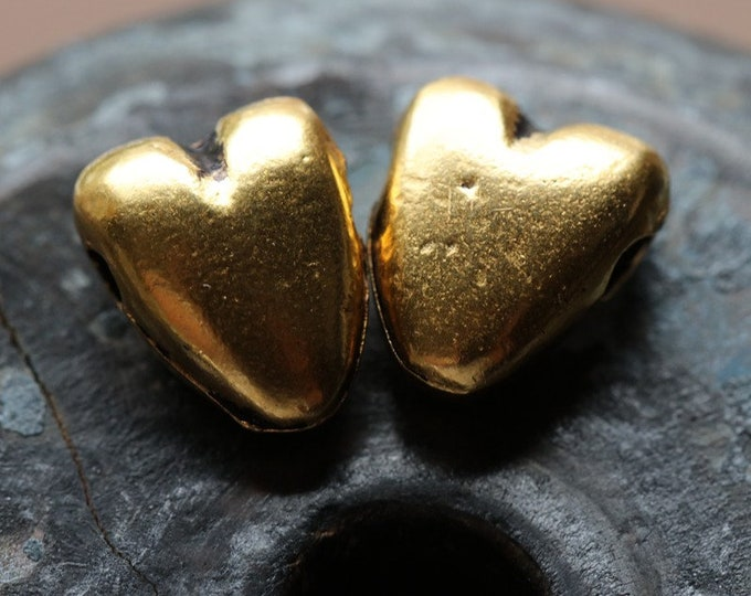 ANTIQUE GOLD PUFFY Heart No. 228 .. 2 Mykonos Greek Puffy Heart Pendant Charm Bead 9x11mm (M228-2)