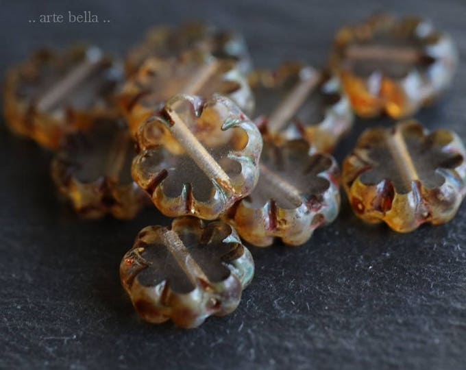 sale .. CLEARLY BLOOMS .. 10 Premium Picasso Czech Flower Glass Beads 9x3mm (6196-10)