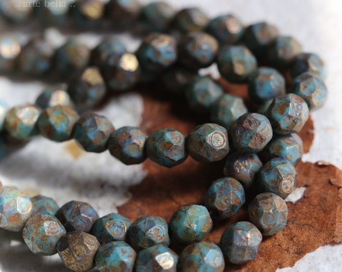 TURQUOISE EARTH PEBBLES .. 25 Premium Stone Picasso Czech Glass Beads 6mm (4187-st)