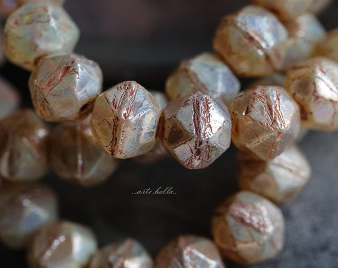 CASHMERE NUGGETS .. 20 Picasso Czech Glass English Cut Beads 8mm (5604-st)
