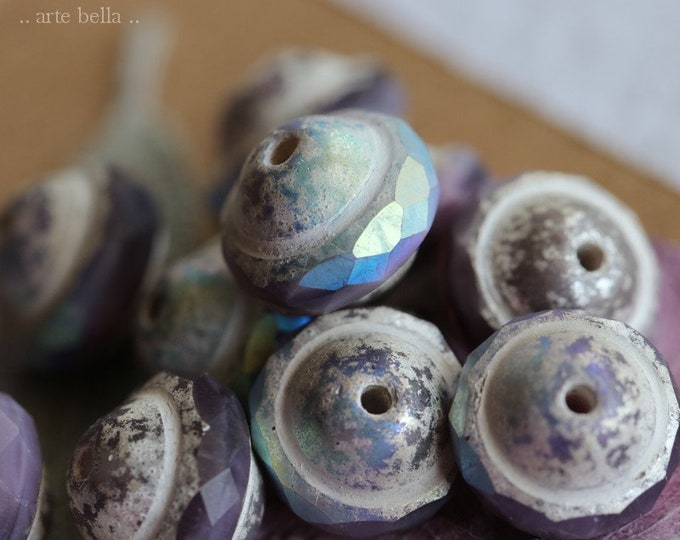MYSTIC VIOLET BLISS .. New 10 Premium Picasso Czech Glass Saturn Beads 8x10mm (7874-10)
