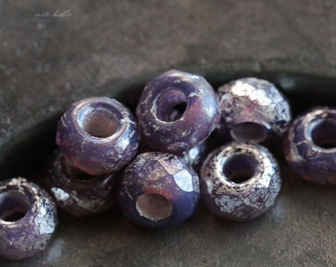 SILVERED GRAPE ROLLERS .. 10 Premium Czech Glass Large Hole Rondelle Beads 6x9mm (5590-10)