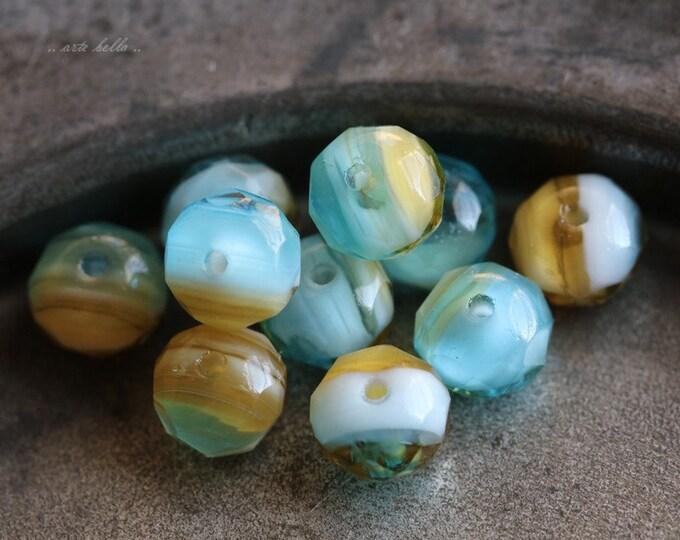 SHORELINE PEBBLES .. 10 Premium Czech Glass Rondelle Beads 7x5mm (5546-10)